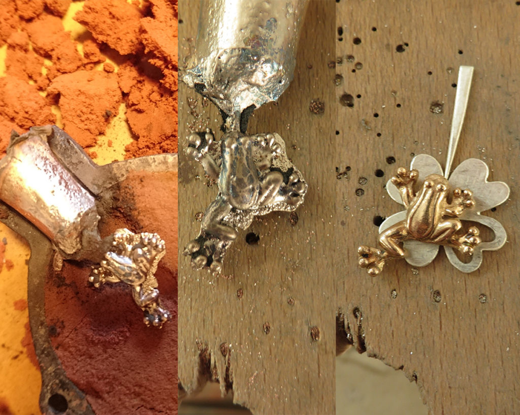 Bronzen kikker met zilveren klavertje 4